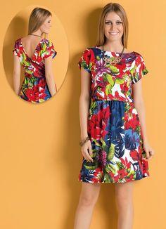 Vestido com Decote Costas V Floral - Posthaus