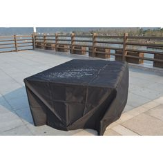 LTD Plus Large Square Table and Chair Set Cover by Direct Wicker (90.5 x 90.5 x 27.6 inches), Black, Patio Furniture