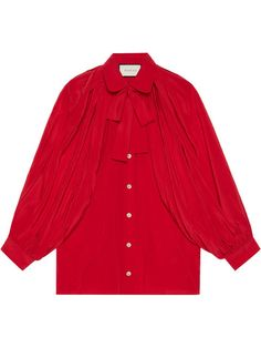 Shop Gucci Silk shirt with neck bow