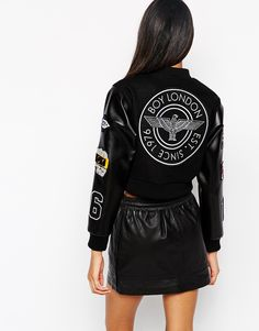 Enlarge Boy London Patch Detail Bomber Jacket with Leather Look Contrast Sleeves