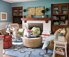 Love this eclectic living room, with cottage style elements!