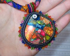 Summer Joy - Bead Embroidery Necklace with Rainbow Sea Jasper and Pyrite