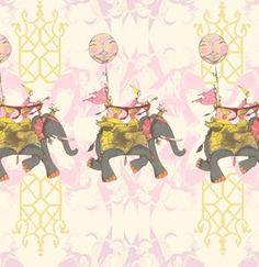 Tina Givens Pernilla's Journey Fabric - Elephant Run - Cotton Candy