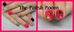 Pink, black & gold gel polish on natural nails, freehand nailart, pretty in pink,
