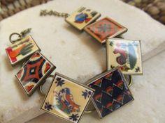 BRACELET Southwest Style Mini Ceramic Tile by FayWestDesigns, $48.00