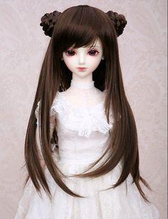 doll WIG bjd super dollfie SD/DZ/SOOM/LUTS 9-10 1/3 size dark brown long FB12