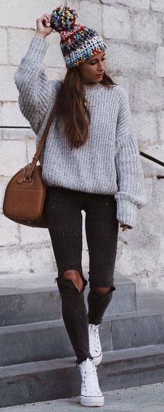 how to style a knit sweater : colorful hat + bag + rips + converse