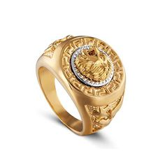 ZMZY Fashion Punk Biker Gold Color Stainless Steel Ring Carving Unique Animal Head Lion Rings for Men Jewelry Buy Rings, Rings Cool, Ring Bracelet, Ring Earrings, Handmade Bracelets, Bracelets For Men, Today Gold Price, Gold Coin Ring, Lion Ring