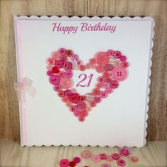 Large Scalloped Edge Button Heart Age Card by TillyJaneCards on Etsy