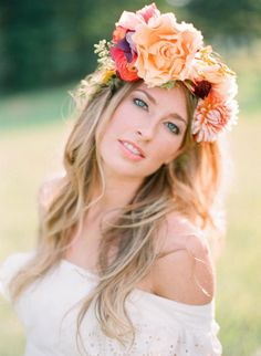 #flowercrown #clothofgold #stylemepretty Photography by odmphotography.com, Floral Design by clothofgoldflowers.com