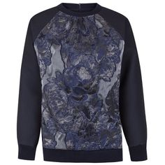 The 2nd Skin Co Espiga And Cloqué Sweatshirt ($532) ❤ liked on Polyvore featuring tops, hoodies, sweatshirts, navy blue, navy blue tops, jacquard top, navy sweatshirt, navy blue sweatshirt and navy top