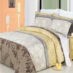 Luxury Full/Queen Printed Beige Cypress Duvet Cover Set, 300 Thread Count 100 % Cotton fiber reactive prints with matching pillow shams King Size Bedding Sets, King Duvet Cover Sets, Comforter Cover, Comforter Sets, Pottery Barn, 100 Cotton Duvet Covers, Cotton Bedding, Dorm Bedding, Queen Bunk Beds