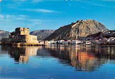 Greece Nauplia Panoramic view of the town and Bourdzi, panoramique in Europe > Greece Randolph Carter, Mediterranean Sea, Tower Bridge, Are You Happy, Europe, Water, Travel, Outdoor, Drop Cloths