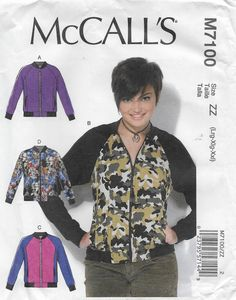 McCall's 7100 Misses' Semi Fitted, Unlined Jacket with Exposed Front Zipper. Size 16 to 26, Bust 38 to 48 by Denisecraft on Etsy