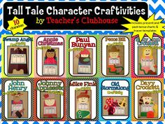 The Tall Tale Craftivity Unit includes 10 activities for exploring important tall tale characters. The craftivities include tracing templates and . Third Grade Writing, 5th Grade Reading, Second Grade, Tall Tales Activities, Literacy Activities, Reading Activities, Educational Activities, Pecos Bill, Reading Notebooks