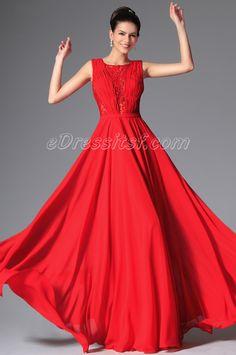 New Red Stylish Design Sleeveless Eveinng Prom Gown | eDressit