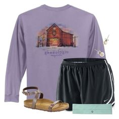 """""""Going to Gainesville tomorrow☀️"""" by flroasburn ❤ liked on Polyvore featuring NIKE, J.Crew and Birkenstock"""