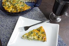 skinny crustless quiche recipe serves 6 view of top of casserole and one serving on plate