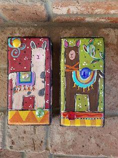 Two Llama Bricks, Garden Bricks, Painted Bricks Painted Bricks Crafts, Brick Crafts, Painted Pavers, Painted Rocks, Hand Painted, Rock Painting Designs, Paint Designs, Quilt Hangers, Brick Art
