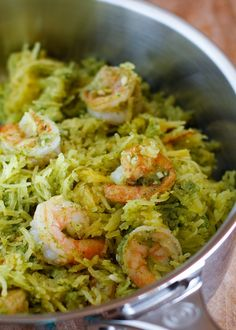 Spaghetti Squash with Pesto and Sautéed Shrimp- paleo