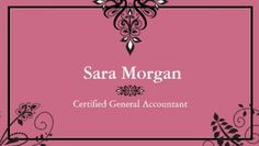 Simple Elegance Pink and Black Filigree Certified Accountant Business Cards http://www.zazzle.com/accounting_business_card_black_and_white_elegant-240859832142883242?design.areas=%5Bbusiness_front_horz%2Cbusiness_back_horz%5D&rf=238835258815790439&tc=GBCAccounting1Pin