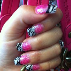 The Hot Pink Zebra Nail Design By : Mary www.nakedsun@att.net These nails are glitter pink & whites with zebra nail tattoos