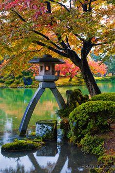 TORO - Japanese Traditional Stone Lantern,  Kenrokuen Garden in Kanazawa, Ishikawa, Japan