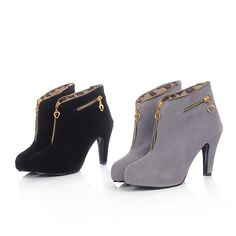 Ladies Stiletto Shoes Heeled Booties High Heel Platform Zip Ankle Boots