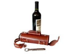 Pedal Happy Design - Bicycle Mounted Leather Wine Carrier At AHA