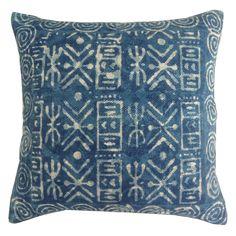 blue take on mudcloth   Jaipur Dabu Spill Blue Throw Pillow