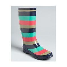 Splendid Striped Rubber Rain Boots - Raindrop