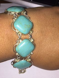 "Absolutely Gorgeous Chunky Turquoise & Sterling Fancy Link Bracelet 7-8"" #Unbranded #link"