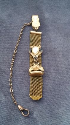 Finberg Victorian gold filled fob - Victorian fob - gold filled - gold mesh ribbon - watch fob - men's fob - FMCO - rose gold - antique by SteamyAntiquities on Etsy