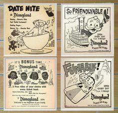 Homemade Ceramic Coasters - 1950's Disneyland Vintage Newspaper Ad - Set of 4 - (20.00 USD) by VintageCoasters