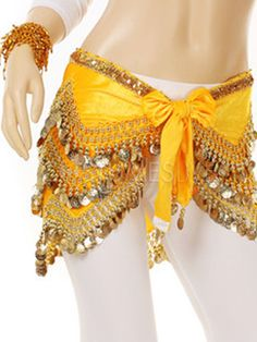 Beautiful Gold Polystyrene Belly Dance Hip Scarf - Costumeslive.com by Milanoo