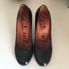 Lanvin Black Patent Pumps Lightly worn black Lanvin patent leather pumps. Round toe and 3 and a half inches in height. Lanvin Shoes Heels