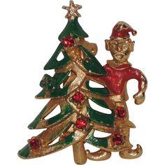 1970's Elf with Christmas Tree Pin ~ Rhinestones & Enamel...Love this jaunty little elf!