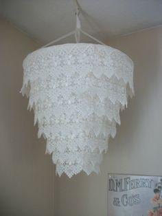 Venise Lace Faux Chandelier Pendant Lamp Shade 'Ivory'.  Via http://www.etsy.com/listing/102564367/venise-lace-faux-chandelier-pendant-lamp