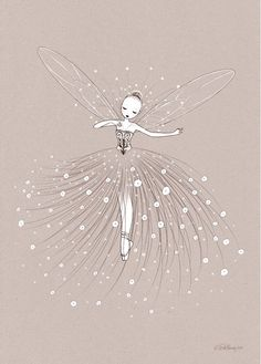 Affiche Illustration Danseuse Fée de Cathy Delanssay pour Enfants