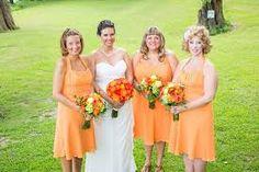 peach orange bridesmaids