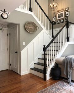 8 Farmhouse Stair Railing Ideas Guaranteed to Weave Country Charm Into Your Entryway Staircase Remodel, Staircase Makeover, Staircase Railings, Staircase Design, Stairways, Banisters, Stairway Railing Ideas, Black Stair Railing, Painted Stair Railings