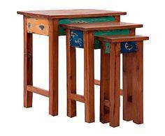 Set de 3 mesas auxiliares de madera de mahogani