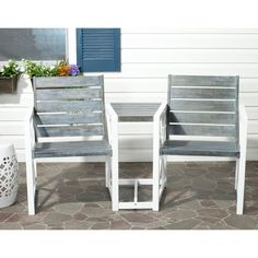 Safavieh Andros Wood 2-Seater Patio Bench with Table : Target