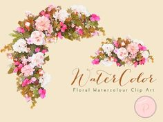 pink-Watercolor Flower Berry, Autumn Floral Clip art, Watercolor Floral wedding wreath