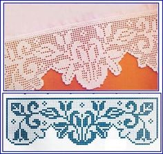 Barrado Crochet Trim, Crochet Motif, Crochet Doilies, Crochet Lace, Crochet Stitches, Lace Patterns, Filet Crochet Charts, Crochet Borders, Baby Sewing