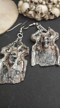 Halloween costume jewelry Skull Tombstone Scary Spooky Eerie Gothic Earrings  October OOAK Unique Han Gothic Earrings 8608d09a6b64