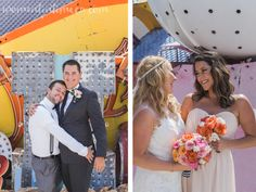 Neon Sign Museum Wedding - Las Vegas, Nevada Bride and Groom Photography  / Best Man and Maid of Honor Photo