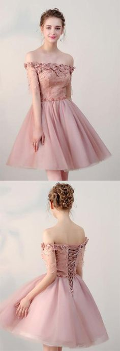 865d50d1b85 Chic Short Pearl Pink Off-the-shoulder Homecoming Dress