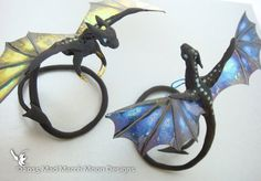 Dragon Ring/Bracelet, Unique handmade wearable art, various wing colours available
