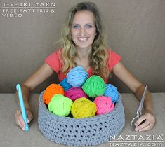 Ravelry: How to Cut T-shirt Yarn and Crochet a Basket pattern by Naztazia